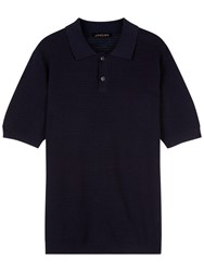 Jaeger Knitted Cotton Polo Shirt Navy