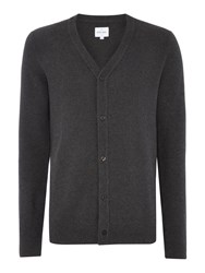 Peter Werth Men's Lucas Zig Zag Knitted Cotton Cardigan Charcoal