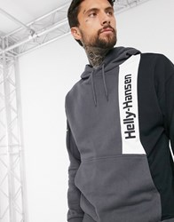 Helly Hansen Yu Colour Block Hoodie In Black Grey