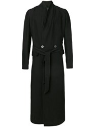 Tom Rebl Belted Long Coat Black