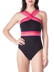 Kenneth Cole Reaction High Neck One Piece Swimsuit Aqua