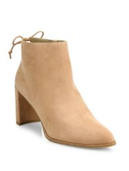 Stuart Weitzman Lofty Suede Block Heel Booties Black Naked