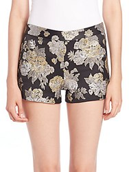 Alice Olivia Metallic Floral Shorts Gold Black