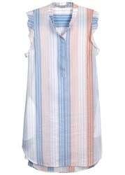 Stella Mccartney Striped Cotton Blend Dress Orange