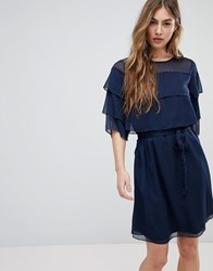 Blend She Cecile Layered Frill Dress Blue