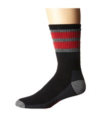 Smartwool Stripe Hike Medium Crew Black Light Gray Men's Crew Cut Socks Shoes
