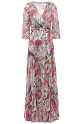 Baandsh Woman Metallic Printed Stretch Knit Maxi Wrap Dress Multicolor
