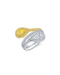 Rahaminov Diamonds Two Tone 18K Gold And Diamond Bypass Ring