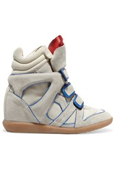 Etoile Isabel Marant Wila Metallic Leather Trimmed Suede Wedge Sneakers Nude