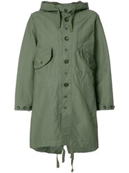 Engineered Garments Buttoned Military Coat Green