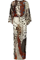 Roberto Cavalli Printed Silk Georgette Kaftan Brown