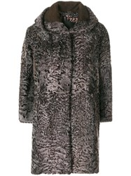 Liska Ariete Coat Women Silk Lamb Fur M Grey