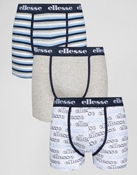 Ellesse 3 Pack Striped Waist Trunks Navy