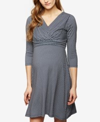 Seraphine Maternity Pritned A Line Dress Grey And White Print