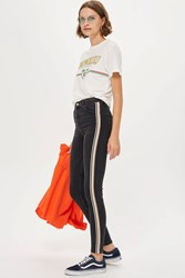 Topshop Moto Washed Black Side Stripe Jeans Washed Black