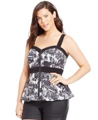 City Chic Plus Size Zip Front Printed Peplum Top Black