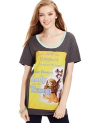 Hybrid Juniors' Disney Lady And The Tramp Graphic Tee Lady And Tramp