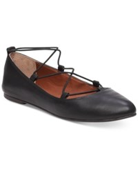 Lucky Brand Women's Aviee Elastic Lace Up Ballet Flats Women's Shoes Black Leather