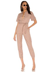 Monrow Short Sleeve Side Zip Detail Jumpsuit Taupe