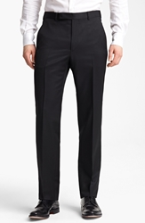 Z Zegna Flat Front Trousers Black