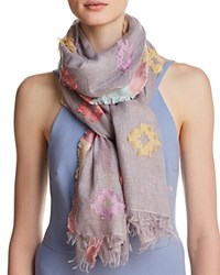 Fraas Clipped Jacquard Oblong Scarf Gray Multi