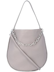 Alexander Wang Silver Chain Cross Body Bag Women Leather One Size Grey
