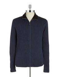 Dkny Ribbed Zip Up Sweater Blue