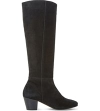 Dune Tarry Knee High Stretch Suede Boots Black Suede