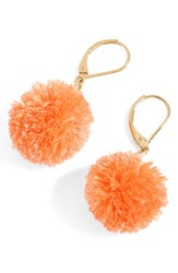J.Crew Pompom Drop Earrings Brilliant Peony