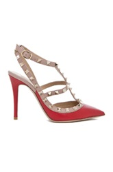 Valentino Rockstud Leather Slingbacks T.100 In Red