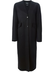 Yang Li Collarless Long Coat Black