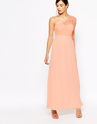 Elise Ryan Lace One Sleeve Maxi Dress Nude