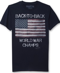 Ring Of Fire Back To Back Flag Graphic T Shirt Navy