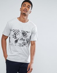 Only And Sons T Shirt With Printed Panel Light Grey Melange White