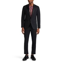 Lanvin Attitude Wool Mohair One Button Tuxedo Navy