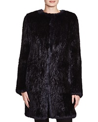 Meteo By Yves Salomon Long Rabbit Fur Tweed Effect Coat Jean Noir