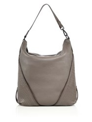 Christopher Kon Zipper Trimmed Topstitched Leather Hobo Bag