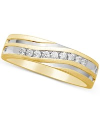 Macy's Men's Diamond Two Tone Band 1 4 Ct. T.W. In 10K Gold And Rhodium Plate White