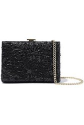 Halston Heritage Woman Sequined Leather Box Clutch Black