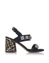 Marc Jacobs Emilie Black Leather Ankle Strap Sandal W Studs And Animal Print Heel