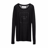 Circle Park Fine Long Sleeve Black T