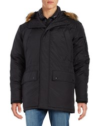 S13 Removable Faux Fur Trim Hooded Parka Black