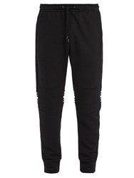 Fendi Striped Cotton Blend Track Pants Black
