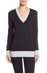 Women's Michael Michael Kors Metallic Trim V Neck Sweater