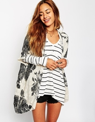Abercrombie And Fitch Printed Relaxed Cardigan Creamgroundblackf