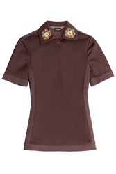 Ostwald Helgason Micro Pique Polo Shirt With Crochet Flowers Red