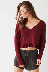 Out From Under Reagan Ruffle Long Sleeve Cropped Top Maroon
