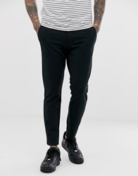 Only And Sons Slim Fit Pinstripe Smart Trousers In Black