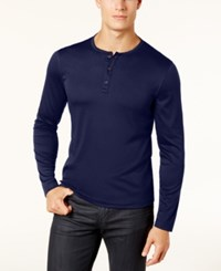 Alfani Men's Soft Touch Stretch Henley Created For Macy's Neo Navy