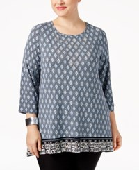 Jm Collection Plus Size Rhinestone Printed Top Only At Macy's Quiet Harbor Combo